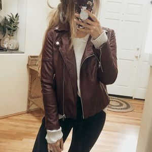 Forever 21 Maroon Faux Leather Moto Jacket